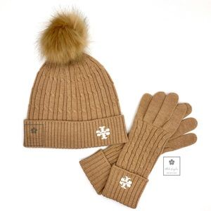 Tory Burch - Cable Knit Hat & Gloves - New Camel